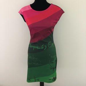 Desigual Sleeveless Sheath Dress S Green Pink